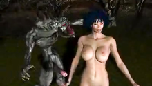 Evil and horny swamp monsters attack naked beauty